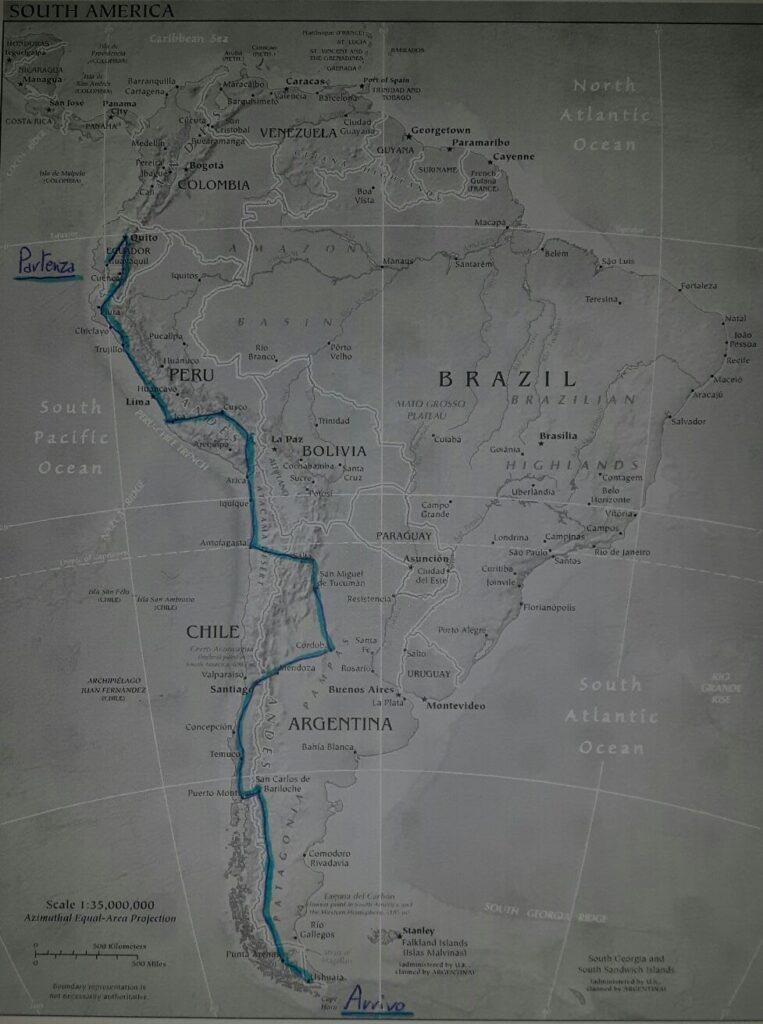 Sud America via terra - La mia cartina e il mio sogno del viaggio in Sud America