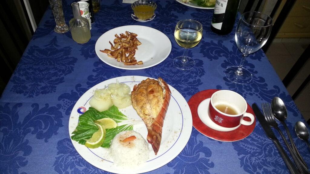 La mia cena nella Casa Particular a base di aragosta e vino bianco