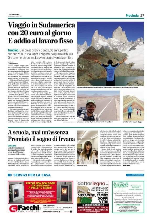 Articolo de 'L'eco di Bergamo' del 23 Dicembre 2019